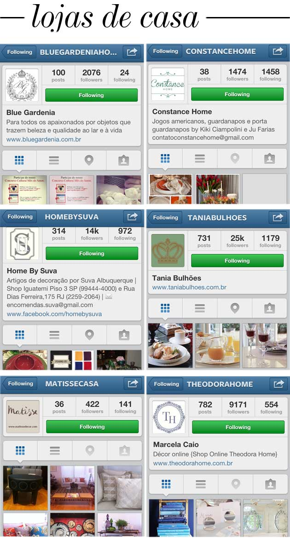 lojas de casa no instagram