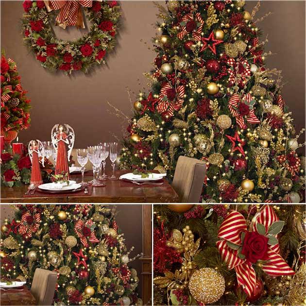 decoracao arvore de natal vermelha e dourada:de Natal, pra mim, é, desde sempre, um mix de verde, vermelho e