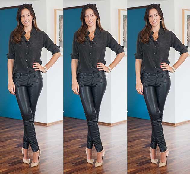 calça couro fake Zara